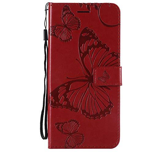 DENDICO Cover Galaxy J4 Plus, Pelle Portafoglio Custodia per Samsung Galaxy J4 Plus Custodia a Libro con Funzione di appoggio e Porta Carte di cRossoito, Modello di Farfalla - Rosso