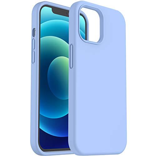 ORNARTO Cover in Silicone Liquido Compatibile con iPhone 12 Custodia 6,1 e iPhone 12 PRO Custodia Protezione in Gomma Gel per Tutto Il Corpo con Fodera in Microfibra 6,1 Pollici Azzurro