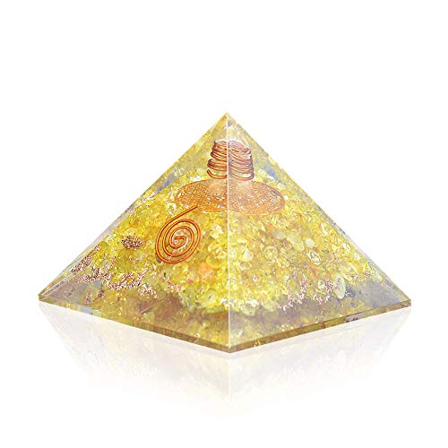 Orgone Pyramid - Citrine Copper Healing Crystals - Orgone Energy Pyramid for EMF Protection Chakra Balancing - Heart Love Booster - Flower of Life