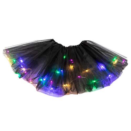 Youliy - Falda tutú para niña, con luz LED