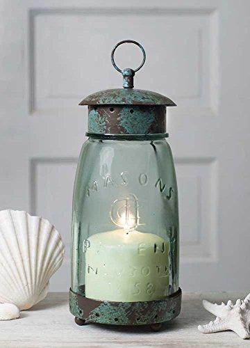 Colonial Tin Works Mason Jar Candle Lantern,Green