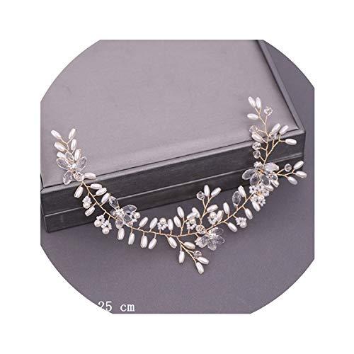 Diadème de mariage avec perles et cristaux - Doré clair - 6 couleurs