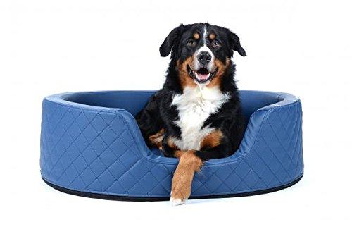 PadsForAll hondenbed Koning Henry, bekleding van kunstleer, in blauwe hondenmand hondenmand met hoge rand, 100x80, Standard Füllung