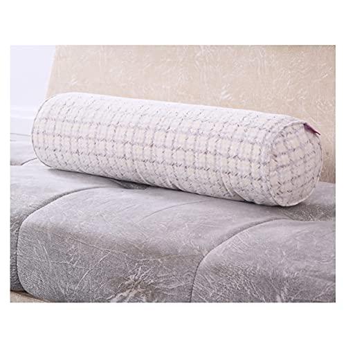 ZSFBIAO Almohada Cervical cilíndrico Largo cojín Blandos Decoración Almohada con Funda Lavable para Dormir de Lado, de Espalda y de Estómago (Size:80 * 20cm,Color:Líneas púrpuras)