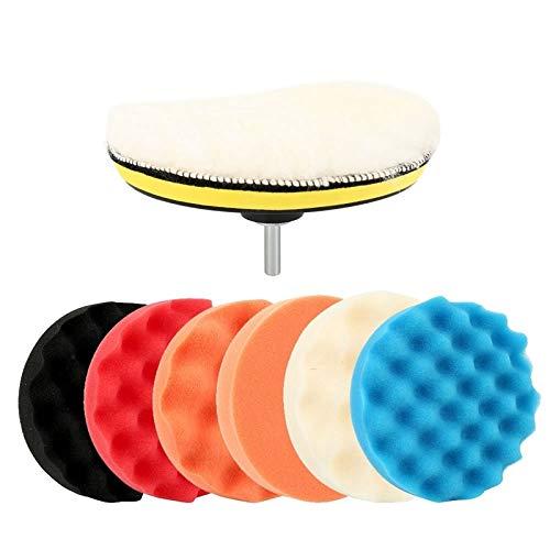Juego de 9 almohadillas de pulido para coche de 15,2 cm, esponja de pulido para cera de coche (color: amarillo)