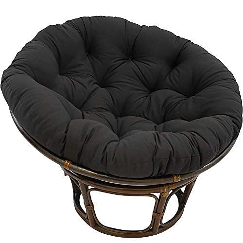 eewopjkj Large Round Chair Cushion Thick Outdoor Swing Chair Cushion Wicker Hanging Basket Seat Cushion Replacement Nest Cushion (not including chair) Black 110 x 110 cm (43 x 43 inch)