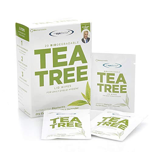 20 x Tea Tree Eyelid Wipes - Pack of 20 Biodegradable Eyelid Wipes for Dry Eye, Blepharitis, MGD and Demodex