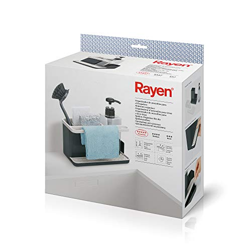 Rayen | Organizador de Utensilios para Fregadero | Gama Premium | Bandeja de Goteo | Fácil de Limpiar | Compartimentos | Dispensador de Jabón