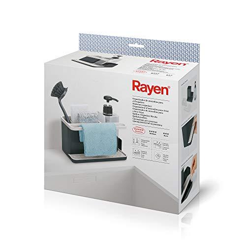 Rayen | Organizador de Utensilios para Fregadero | Gama Premium | Bandeja de Goteo | Fácil de Limpiar | Compartimentos | Dispensador de Jabón, 2118