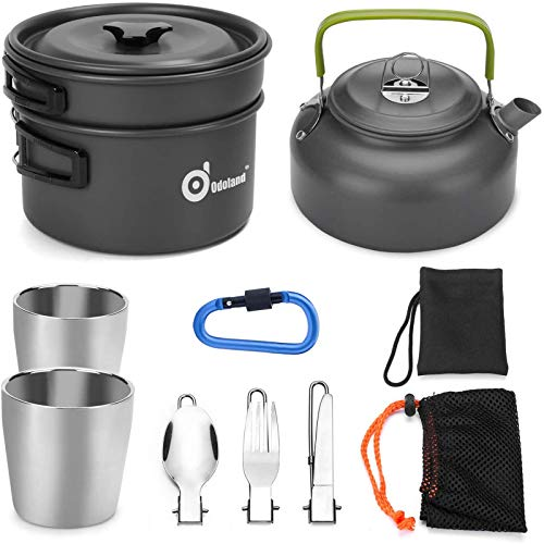 Odoland 10pcs Camping Cookware Mess Kit, Lightweight Pot Pan Kettle with 2 Cups, Fork Spoon Kit for Backpacking, Outdoor Camping Hiking and Picnic