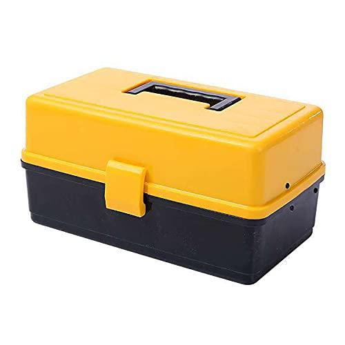 Caja de herramientas, caja de herramientas de hardware plegable de tres capas, caja de almacenamiento de mantenimiento portátil con mango, caja de almacenamiento de garaje, caja de herramientas