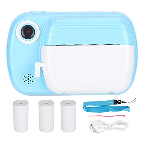TEANQIkejitop 1080P Lente dual 3. 5 pulgadas Cámara infantil Polaroid Cámara térmica Mini térmica Selfie Dual Lens Camera (azul)