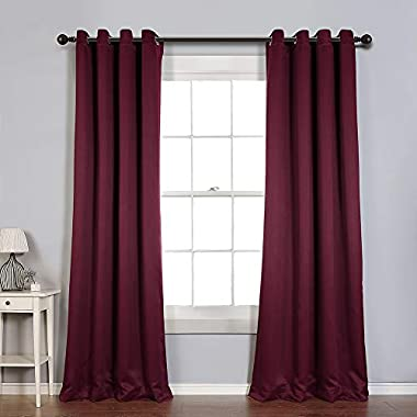 MYSKY HOME Solid Grommet top Thermal Insulated Window Blackout Curtains for Living Room, 52 x 84 Inch, Burgundy Red, Single Panel