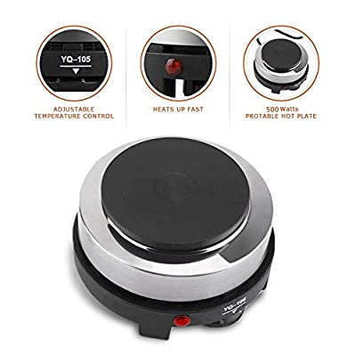Haofy Single Countertop Burner, Infrared Single Cooktop, Portable Electric Hot Plate, Stainless Steel 1000 Watts