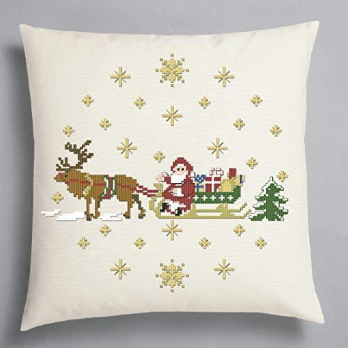 Kamaca Stickpackung FRÖHLICHE Weihnachten mit Rentieren Kissenbezug 40x40 Kreuzstich vorgezeichnet aus 100% Baumwolle zum Selbersticken Winter Weihnachten (Kissen 40x40 cm)