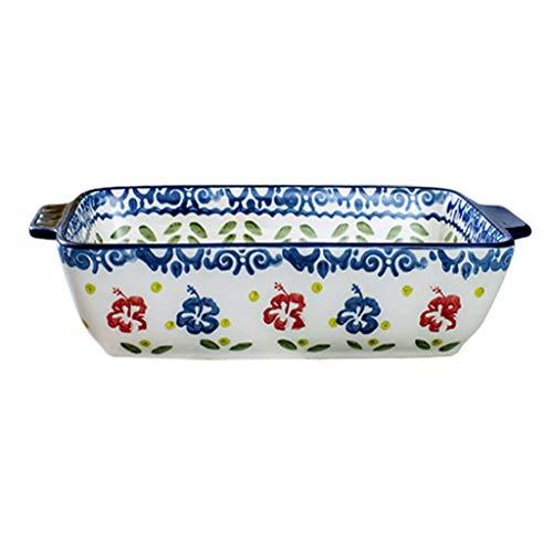 Bandeja de Horno Bandeja para hornear de arroz con plato de queso Bandeja para hornear de cerámica bizcocetón tazón de fuente creativo vajilla Bandeja para hornear de microondas Rustidera de Horno