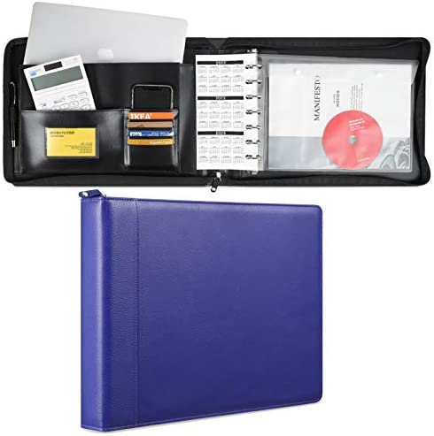 MUDOR 7 Ring Business Check Binder with Zipper Premium PU Cover Check Registers for Personal product image