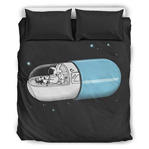 O5KFD&8 Die NASA-Kapsel Tagesdecke Bettwäsche-Set Western Style 3er-Set Kopfkissen- und Kopfkissenbezüge - Schwarzer Raum Comfortable Boho Bettwäscheset King Size White 229x229cm