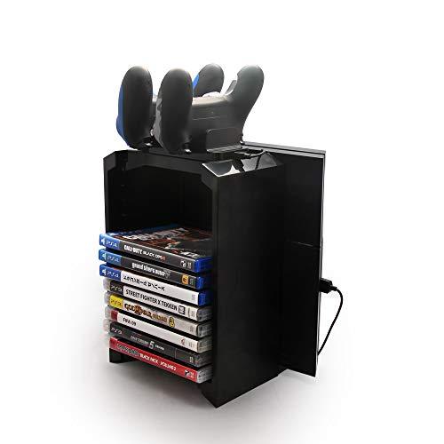TurnRaise Games Tower, Vertikaler Standfuß Spiele-Speicherturm für Playstation 4, Dualshock Controller Ladegerät für PS4, PS4 Pro, Slim und Xbox One