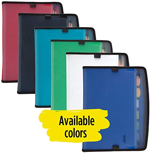 Five Star Expanding File Folder with Pockets, 7-Pocket Plastic Zippered, Expandable File Organizer with Customizable Tabs & Clear Cover, Home School Supplies, Color Selected for You, 1 Count (35170) Photo #2