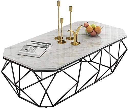 LAZ Coffee Table Furniture, Creative Black Marble Coffee Table, Wrought Iron Metal Frame, 50 × 50 × 50Cm