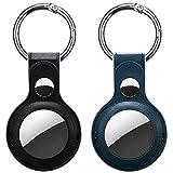 2 Stück Keyring für Apple AirTag Schutzhülle Pendant, Echt Leder Hülle mit Schlüsselring...