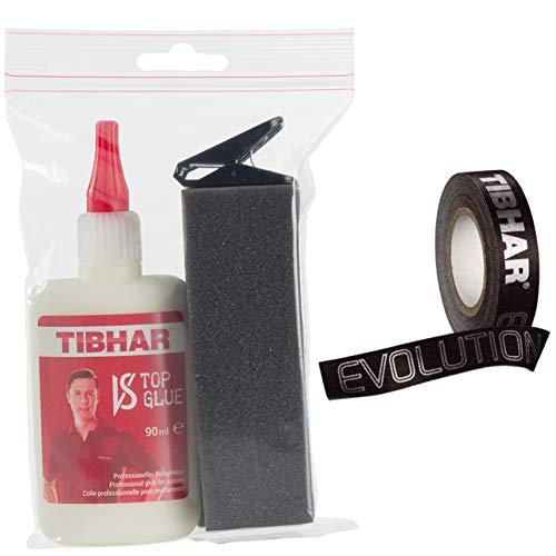 Tibhar Pegamento para bordes de tenis de mesa y tenis de mesa, set de pegamento superior VS Top Glue, 90 ml y cinta para bordes, 5 m, 12 mm, color negro