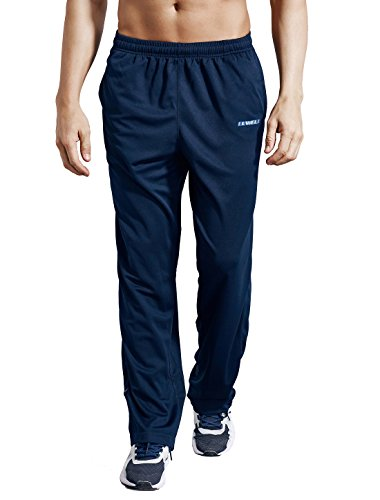 LUWELL PRO Men's Sweatpants with Pockets Open Bottom Athletic Pants for Jogging, Workout, Gym, Running, Training(0317NaveBlue,XL)