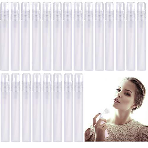 Poluka 24 Botellas de Perfume con atomizador dispensador de Perfume de 0.35 oz/10 ml, Tubos vacíos de Niebla rellenables con pulverizador para Viajes Diarios