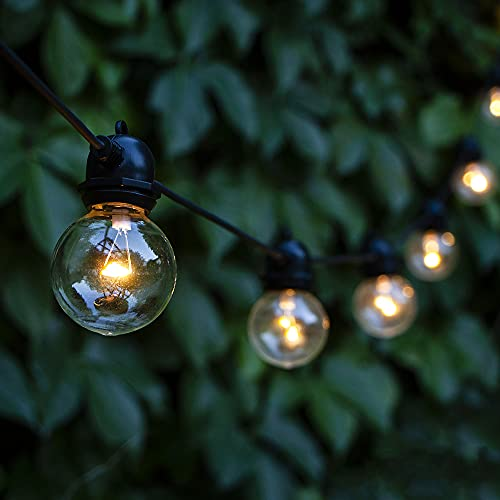 Festoon Lights Outdoor Solar Powered ZHONGXIN 20ft Waterproof Solar String Lights with 15 Warm White LED G50 Plastic Globe Bulbs Gazebo Lights for Home Garden Backyard Deck Pergola Indoor Outdoor Use