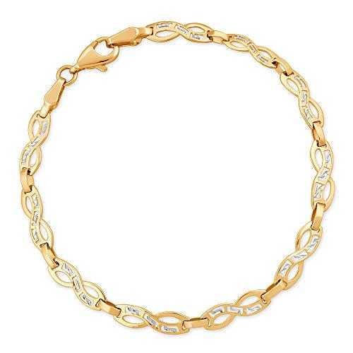 Murrano Infinity Damen Armband 333 Gold - personalisierte Geschenkbox mit Gravur - mit Kristallen - Geschenk für Frauen - Länge: 19 cm - 8 Karat