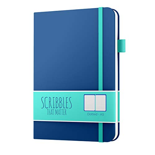 A5 Dotted Journal by Scribbles That Matter - Bullet Dot Grid Notebook - No Bleed Thick Fountain Pens Friendly Paper - Hardcover with Large Inner Pocket - Pro Version - Teal