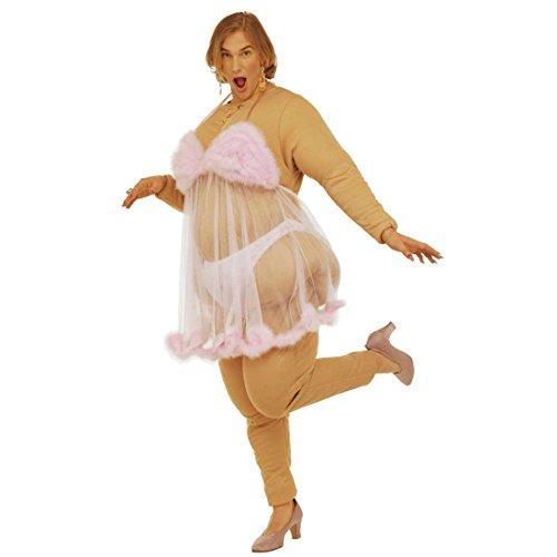 NET TOYS Lustiges Ausgefallenes Fett Boy Fett Girl Kostüm Dicke Stripperin Frau Faschingskostüm Karnevalskostüm