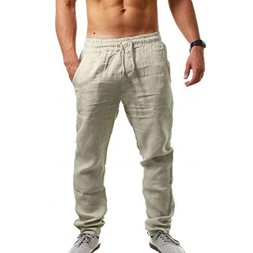 MorwenVeo Men's Linen Pants Casual Long Pants - Loose Lightweight Drawstring Yoga Beach Trousers Casual Trousers - 6 Colors Khaki