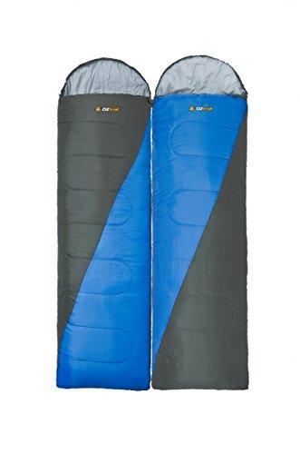 Oztrail Packung mit zwei Schlafsäcken mit Kapuze, 0 °C, 1 mit Reißverschluss auf der rechten Seite und 1 links, um einen Doppelsack zu erstellen, 75 x 230 cm, 1,6 kg pro Sack