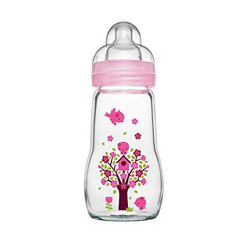 MAM Feel Good Babyflasche aus Glas (260 ml), Babyflasche mit weiter Öffnung, stabile Baby Trinkflasche mit Sauger Gr. 1, ab der Geburt, Naturmotive, rosa