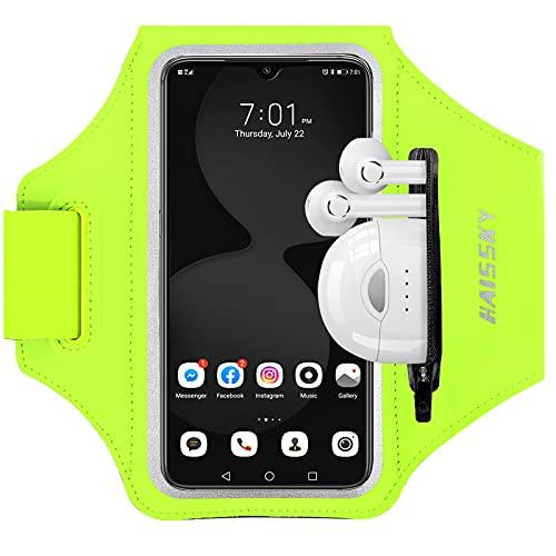 HAISSKY Sportarmband Mit Kopfhörer Tasche Sportarmband Handytasche Sport für iPhone 12 Pro/11/11 Pro/XR/XS/X/8 Plus/7 Plus/8/7/6s,Huawei P20 Pro/P30 Pro/Mate 20 Handyhülle Running Armband