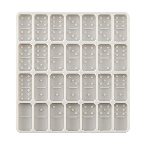 Domccy Domino Mold, Dominoes Resin and Chocolate Candy Baking Mold, 28 Cavities 0.39'' Deep Silicone Mold for DIY Personlized Dominoes, Soaps, Jello, Bath Bomb, Beeswax and Dessert