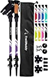 TrailBuddy Walking Poles - Adjustable Trekking Sticks - Flip-Lock Hiking Pole 2 Pck - Strong Lightweight Aluminium Collapsible Stick w/ Cork Grip & Padded Strap