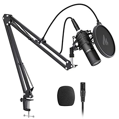 XLR Condenser Microphone Set, MAONO AU-PM320S Professional Cardioid Vocal Studio Recording Mic for Streaming, Voice Over, ASMR, Home-studio