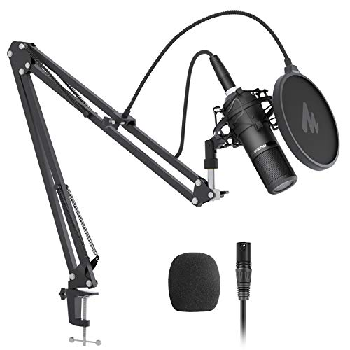 XLR Kondensator Mikrofon-Set Maono AU-PM320S Professionelles Cardioid Vocal Studio Aufnahmemikrofon für Streaming Voice Over, Projekt, Heimstudio