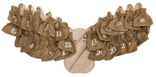Megashop 2000 Adventskalender Elch aus Holz mit Jutesäckchen Zum Befüllen