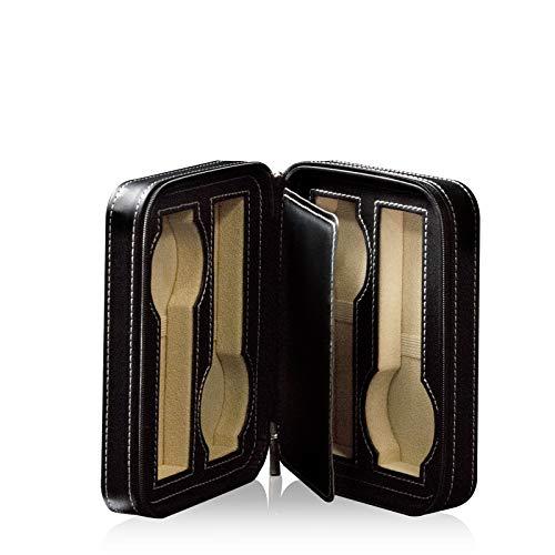 Watchwell® Uhrenbox/Aufbewahrung/Reissetui Geneva 4 Schwarz für 4 Armbanduhren