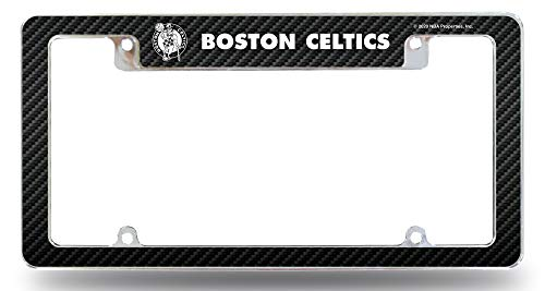Rico Industries, Inc. Boston Celtics Metal License Plate Frame EZ View Carbon Fiber Design All Over Style Heavy Gauge Chrome Tag Cover Basketball