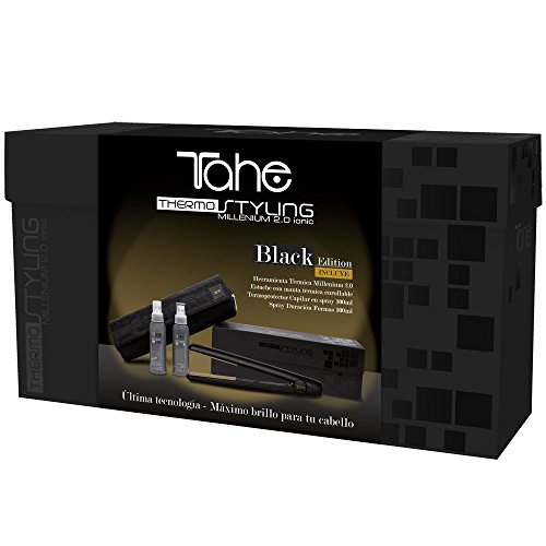 Tahe ThermoStyling Pack Plancha para Pelo Profesional Black Edition Millenium 2.0 + Neceser-manta Térmica negro + Spray Protector Térmico 125 ml + Spray Duración Formas 125 ml