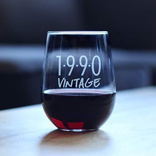 Yilooom Copa de vino sin tallo, vintage 1990, divertida copa de vino sin tallo, refranes grabados, regalo de 31 cumpleaños para mujeres y hombres, 17 onzas