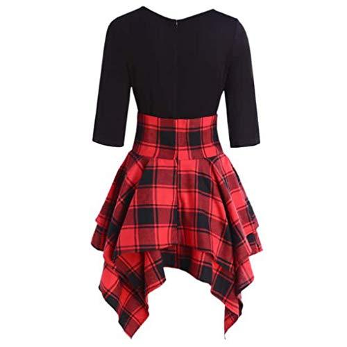 HROIJSL Casual Damenkleid Herbst Mode Verband Halber Ärmel Rundhalsausschnitt Unregelmäßiger Kleiderrock mit kariertem Print Minikleid