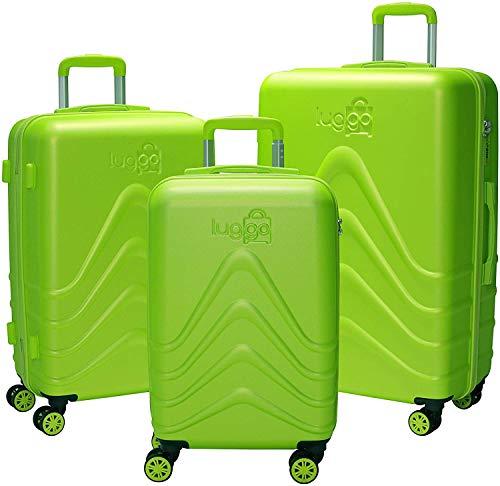 Luggo - Juego de Maletas Capullo (Verde) 8 Ruedas Giratorias - Cerradura TSA - 20% Más Livianas