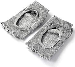 VIQILANY Half Five Fingers Cotton Half Toe yoga Sock Non-Slip Peep - Gray