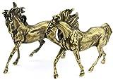 HYBUKDP Estatuas Figuras coleccionables Caballos de bronce Figurine Ornamental Caballo Estatua Estatuillas Estatuillas de metal Coleccionable Escultura Golden 2.8 pulgadas Figuras Escultura de la masc
